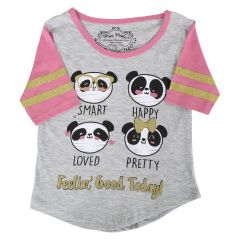 Mini Made Panda T-Shirt Grey Girls