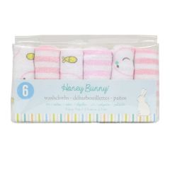 Honey Bunny Terry Towel Washcloths 6Pk