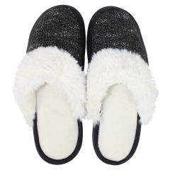 Isotoner Knit Clog Slippers Black