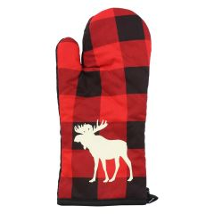 Buffalo Plaid Moose Oven Mitts Red