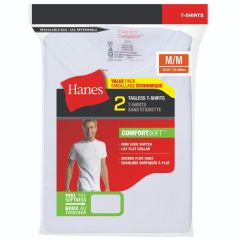 Hanes Comfort Soft Tagless Crew Neck T Shirt 2Pk White