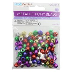 Craft Medley Metallic Pony Beads Multi 150Pk