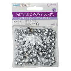 Craft Medley Metallic Pony Beads Silver 150Pk