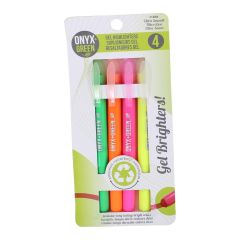 Onyx + Green Gel Highlighters 4Pk