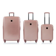 Champs Iconic Collection 3 Piece Hard Side Luggage Rose Gold