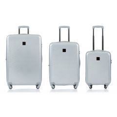 Champs Iconic Collection 3 Piece Hard Side Luggage Silver