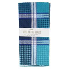 Tag Woven Kitchen Towels Blue 2Pk