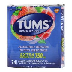 TUMS Antacid Extra Strength 750mg Tablets Assorted Berries 3Pk