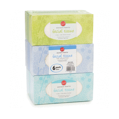 Western Family Facial Tissue 6 Pack Assorted