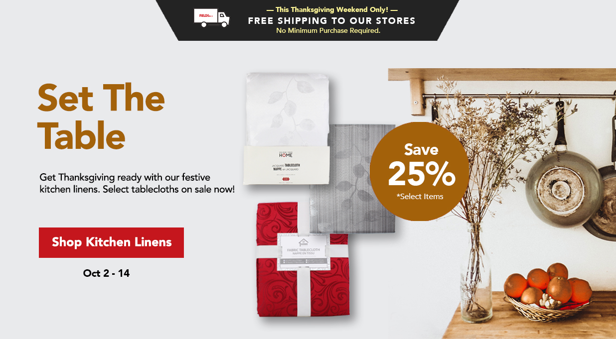 FIELDS Save 25% Tablecloths