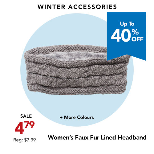Snotek Faux Fur Lined Knit Headband