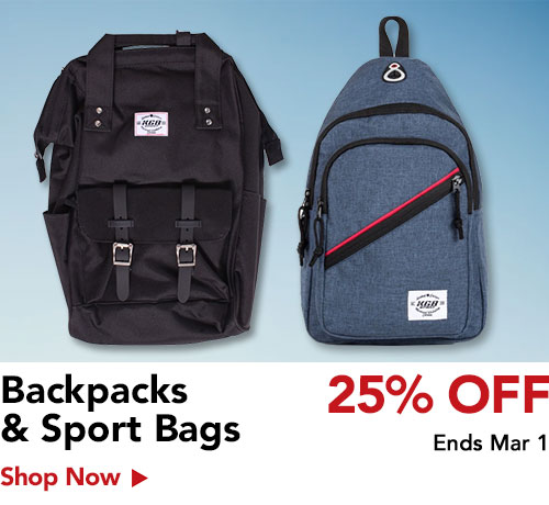 25% off sports bag & backpacks
