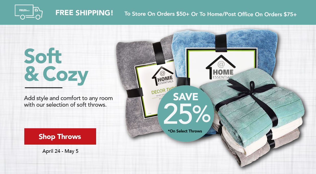 Save 25% off home decor throws FIELDS