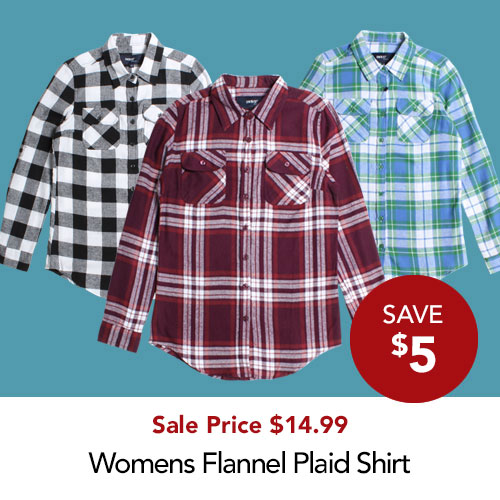 Save $5 Ladies Plaid Shirt